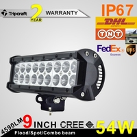 9inch 54W Cheap led light bar 12v led light bar offroad ATV UTV 4*4