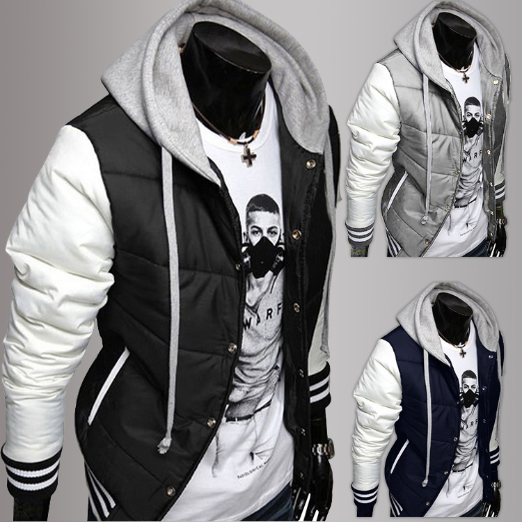 Wholesale New Fashion Men'S Leisure Hooded Spell Color Baseball ...