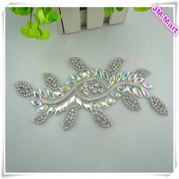 Wholesale Iron on Crystal AB Rhinestone Bridal Applique Trim for Dress Belt