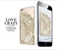 2015 fashion lovecrazy Luxury 3D Angel wings pc Metal back cover phone case for iPhone 6 case 6plus 5 Shockproof skin free shipp