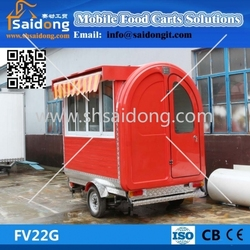 Three-wheeled electric/gas Fast Food Van/hot dog trailer For Sale/coffee vending cart