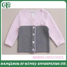 2015 High Quality Softness Pure Cotton Crochet Girls Baby Sweater Design