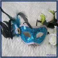 Colorful Flower Venetian Half Face Mask Sex Masquerade Party Mask with Feather