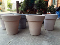 two color seperated painted frosted sand decorated plastic flower pot 2015 new arrive