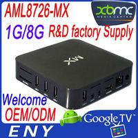 XBMC Amlogic 8726 MX Cortex A9 streaming sport tv channel flash vedio supported free internet tv box hdmi EM6 MX2