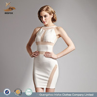high neck white hot sexy night evening dress for women