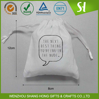 Custom small cotton muslin drawstring bag for jewelry small items