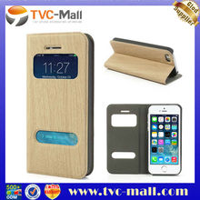 Window View Wood Grain Leather Case for iPhone 5 5s with Card Slot