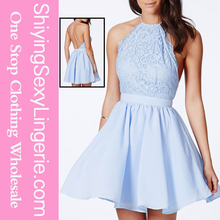 New Design Wholesale Baby Blue Cross Back Lace Detail Party Skater Dress Women's Clothing
