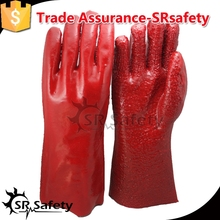 SRSAFETY Cotton interlock coated red PVC,rough finish on palm