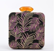 European design fabric rose feather printed black clutch bags