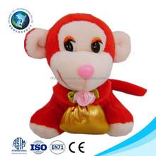 2015 Red cheap plush monkey keychain mini monkey toy fashion cute stuffed soft plush toy monkey with velcro