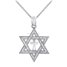 Jewish Silver Plated Star Cross Of David Pendant Necklace