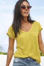 2015 ladies embellish cuff t-shirt new fashion beaded lady t-shirt