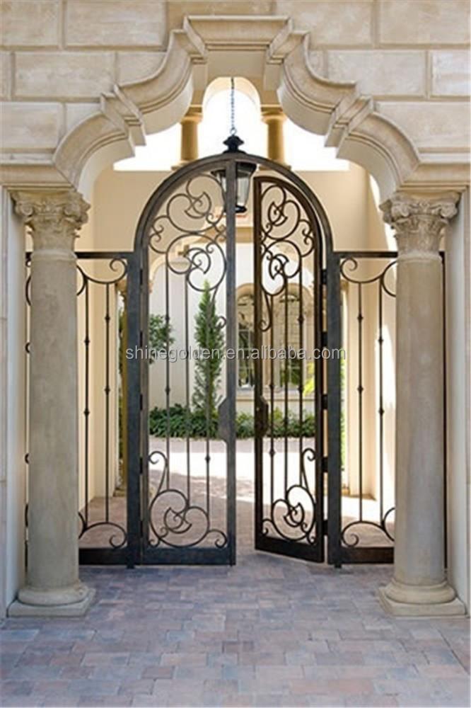 Wrought iron entry front door custom metal door exterior - Interior decorative wrought iron gates ...