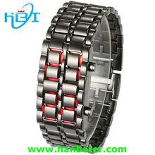 China cheap fashion red led watch iron samurai watch