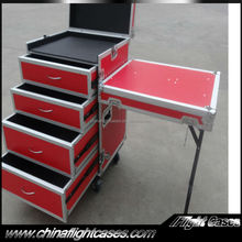 Professional ATA Drawer Flight Case with DJ Work Table and 4 Drawers---2 x 4U, 2 x 3U