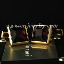 Gold Plated Purple Crystal Cufflinks