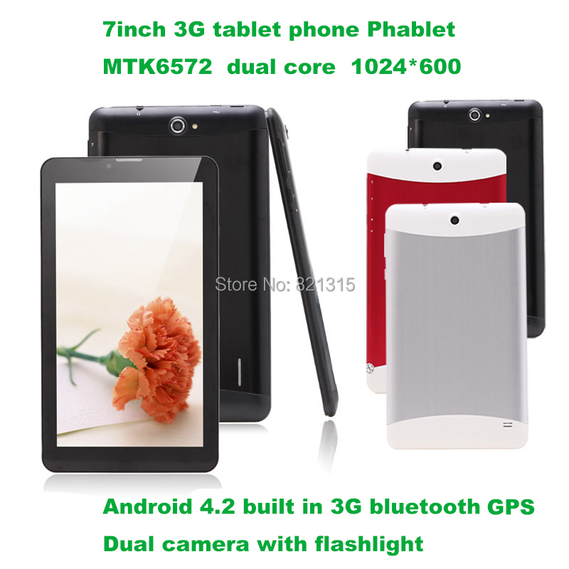 7 inch Tablet PC 3G Phablet GSM/WCDMA MTK6572 Dual Core 4GB Android 4.2 Dual SIM Camera Flash Light GPS Phone Call WIFI Tablet