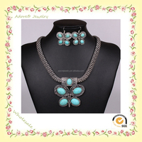 WS150922-3 Yiwu Adore Wholesale Fashion Alloy Turquoise Butterfly Jewelry Set, antique silver jewellery, butterfly necklace