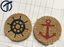 classic!!! printed anchor and rudder Jute rope cup mat