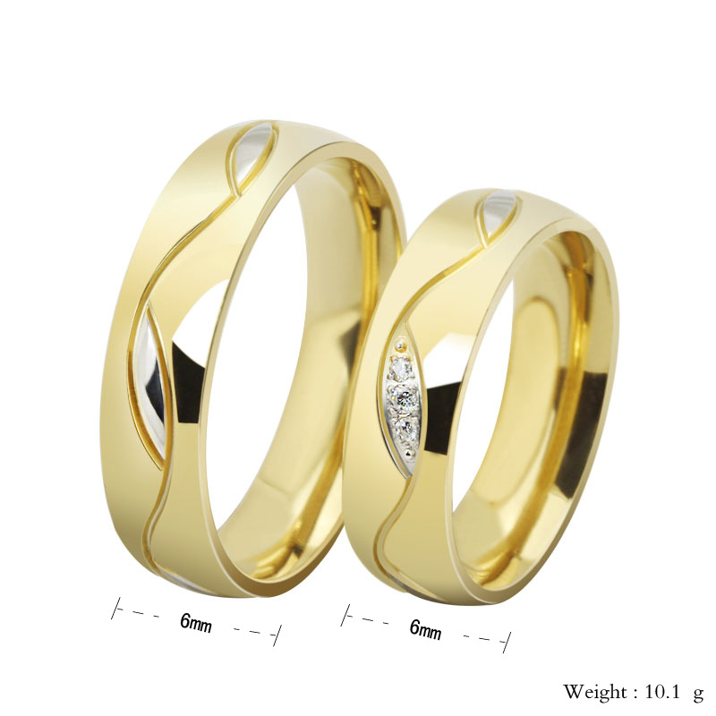 New Korean Edition 18K Gold Fashion Couple Lovers Engagement ...