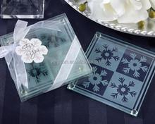 wedding favor and wedding giveaways--Crystal Snowflake Glass Coaster Set