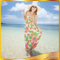 In The Summer Of 2015 Bohemian Dress Chiffon Take a Strapless Neck Hung Long Beach Party Dress To The Ankle