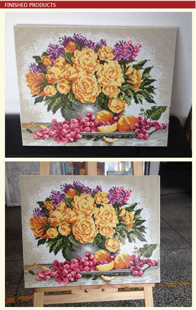 GZ387 handcrafts diy flower diamond mosaic painting for living room decor