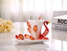 Enamels Ceramic Peacock Coffee Tea Set Cup/Saucer/Spoon Expresso Tasse Assiette, ceramic mug Christmas Gift