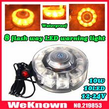 High quality 12V-24V 10W led lightbar, Car Auto LED Beacons Magnets Emergency Amber, 8 Flash way LED warning light