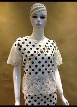Original Design Ladies Polka Dot Crochet Hem Short Sleeves Casual Tops