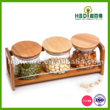3pcs clear Glass Canister set with bamboo lid,