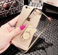 Luxury Style Transparent Clear Elecctroplating Hard Plastic Phone Case With Ring Kickstand Holder Function For iphone6s/6s plus