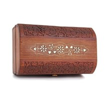 Treasure Chest Wooden Keepsake Jewelry Box with Hand Carvings