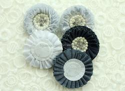 demin shabby rose rhinestone centers fabric chiffon flower for baby's headband