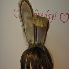 FG-041 Yiwu Caddy BUNNY Rabbit Ears Headband ,wire inside twist-able,Brown grey mix long fur bendable Easter Cosplay Costume