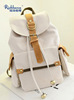 Small white is pure and fresh student canvas backpack drawstring