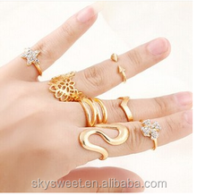 punk style 7 pcs flower ring set, diamond gold knuckle ring(SWTJU400)