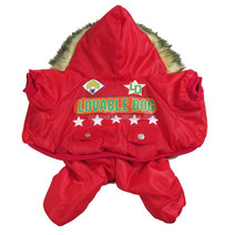 Lovable Dog Print Upgrated Air Force One Extra Heavy Red Waterproof Windcoat Pet Cllothes for Female Dogs