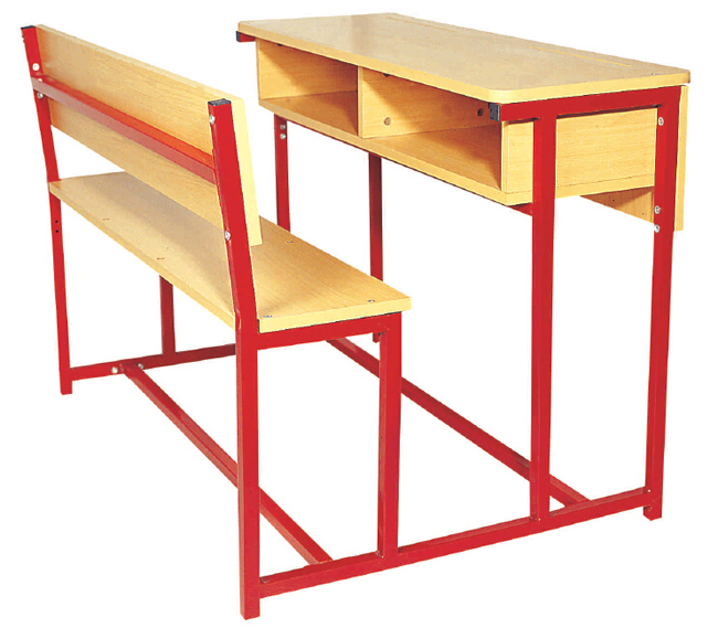 double metal frames and wooden top desk
