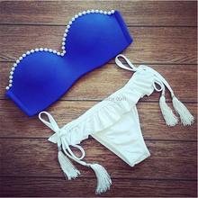 Royal blue women super mini bikini with Pearl