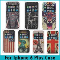Window View Stand Colorful Printing Drawing Flag Flip PU Leather Case For Iphone 6 Plus