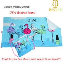 USA famous brand velour printing Beach bag and towel set