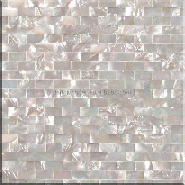 Pure White Seamless Brick Type Shell Mosaic Tile Pearl
