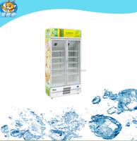2 glass door beer cooler for supermarket