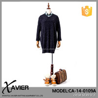 CA-14-0109* Fashion women long sleeve knitted dress unique V-neck cashmere sweater