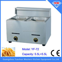 Factory direct selling commercial gas double basket deep fryer