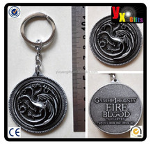HBO Game of Thrones Targaryen Fire And Blood silver 5cm Metal Key chain New