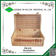 Large lidded empty woven wholesale willow baskets